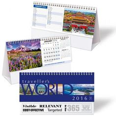 Traveller's World Desk Calendar....  Prepare for adventure! Pick up your passport and escape to far-away places, colourful and picturesque.