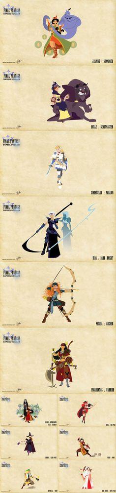 #Disney characters and made up to look like #FinalFantasy Job Classes! http://www.levelgamingground.com/disney-and-final-fantasy-news.html