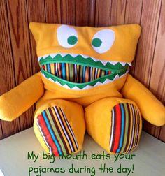 Pajama Eater - Pajama Bag - Secret Keeper - Secret Stasher - Monster Pillow - Plush Toy - Boy / Girl Gift