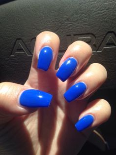 Royal blue coffin nails done by Jenny - Yelp Coffin Nails coffin nails royal blue Coffin Nails Ombre, White Coffin Nails, Blue Acrylic Nails, Coffin Nails Designs Summer, Acrylic Nail Designs, Nail Art Designs, Royal Blue Nails, Casket Nails, Round Nails