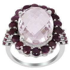 Orchid Jewelry 925 Sterling Silver 10 2/3ct. Pink Amethyst and Ruby Engagement Ring (9-Silver Plated), Women's, Size: 9