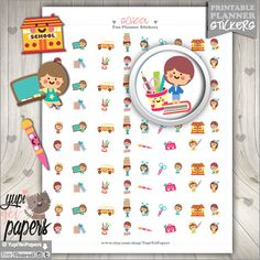 School Stickers, Printable Planner Stickers, College Stickers, School Clipart, Student Clipart, Digital Cute Paper, Clipart Set, Homework