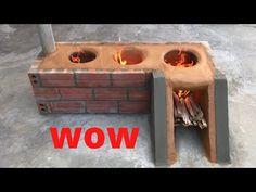 3-in-1 smart wood stove - YouTube Wood Burning Cook Stove, Diy Wood Stove, Wood Stove Cooking, Kitchen Stove, Outdoor Kitchen Design, Interior Design Kitchen, Outdoor Stove, Cement Crafts, Outdoor Cooking