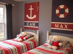 Would be cute when Wyatt and Hudson are a little older and sharing a room. Cute idea for a boys room