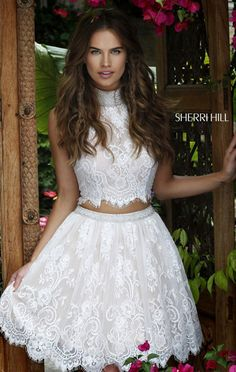 Two Piece Sherri Hill 32290 Beaded Short Lace Scalloped Homecoming Dresses Outlet White High Neck 2016