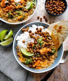 Linsegryde –Vegansk opskrift på gryderet med linser på 30 min. Chana Masala, Curry, Veggies, Vegetarian, Eat, Ethnic Recipes, Kitchen, Food, Essen
