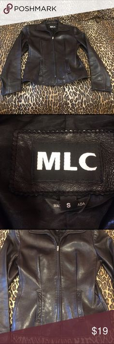 MLC real leather soft as butter black jacket small MLC authentic black leather jacket purchased from Sacks Fifth Avenue in NYC.  This butter soft leather jacket has a classic style that looks so nice on.  Zipper works perfectly and no defects other than some minor fading of leather from wear in a few spots.  Back of right wrist has a sight wear mark.  Plenty of life left in this beautiful jacket.  Paid a super hefty price tag originally because of the quality of leather, just gorgeous.  This…