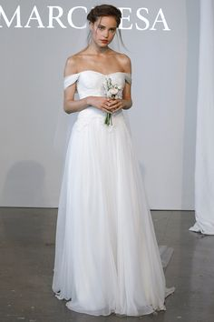 Vogue Daily — Marchesa chiffon off the shoulder gown with rouched bodice and corded lace detail