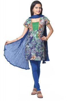 ab54cf139b6 VASTRA VINOD BLUE MULTI KURTI WITH LEGGING AND DUPATTA SET Kurtis, Indian  Outfits, Indian