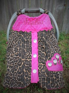 Infant Car Seat Canopy, Embroidered with name and Applique, Cheetah Car Seat Carrier Cover, Bling Crown Wrap, Car Seat Tent by PunkinPatchBags on Etsy