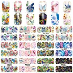 LCJ 1 Sheet Nail Art Wrap Water Transfer Nails Sticker Butterfly Series Water Decals Stickers Decoration Tools Wraps A1297-1308