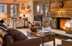 ski chalet fireplace images - Google Search