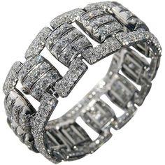 French Art Deco Diamond Panel Bracelet ($152,588) ❤ liked on Polyvore featuring jewelry, bracelets, art deco diamond jewelry, art deco jewelry, deco jewelry, diamond jewelry and art deco-inspired jewelry