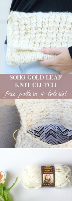 The Soho Gold Leaf Knit Clutch Pattern via @MamaInAStitch this is an easy knitting pattern for a small purse. Includes a stitch tutorial as well! #freepattern #diy #crafts