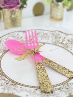 Glitter Party Utensil DIY