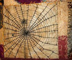 Antique Crazy Quilt détail - brodé toile d'araignée
