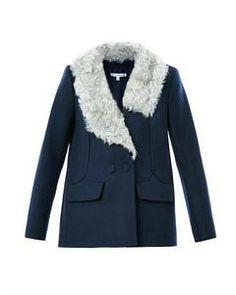 Carven Faux-fur drape collar jacket
