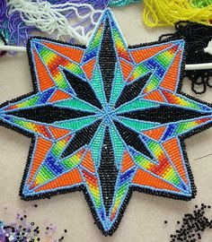 Beaded medallion from lennis Denny on fb Indian Beadwork, Native Beadwork, Native American Beadwork, Bead Loom Patterns, Applique Patterns, Beading Patterns, Beadwork Designs, Native American Crafts, Beading Projects
