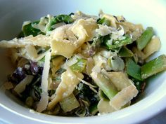 farfalle carbonara primavera using fresh pasta and lots of lovely spring veg - broad beans, baby leeks, peas and kale.
