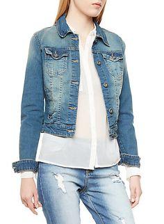 Faded Medium Wash Denim Jacket with Contrast Stitching