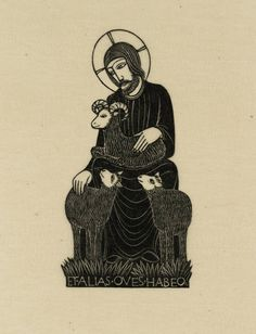 The Good Shepherd - wood engraving 1926 - Eric Gill (1882-1940, U.K.)