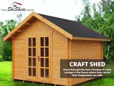 Craft Shed   Wooden Kit Set Garden Shed Our vintage craft shed with its shingle roof and classic doors and window provide the perfect space for you to create and enjoy. You can even plant your own forest! Order yours online today! View Now>> https://goo.gl/xU7Dty #CraftShed #WoodenShed #GardenSheds #GardenShedsAu #SheShedz #ShabbyChic #Cubbyhouse