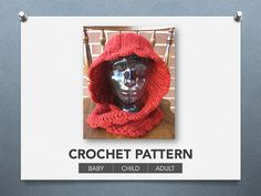 Red Riding Hood cowl PATTERN  3 sizes by LevelUpNerdApparel
