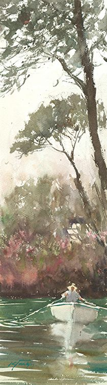 Villa Borghese, Rome, Italy II by Keiko Tanabe Watercolor ~ 23 x 6 1/2 inches (58x17 cm)