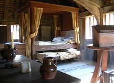 Beamed Bedroom, rustic simple ,Bayleaf || Medieval Interior