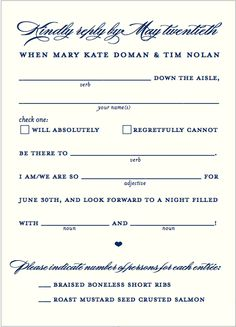creative Mad Lib RSVP postcard-- similar idea to what Theron had sent me with lines for guest to fill out.