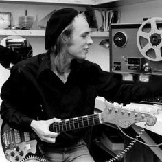 """I always use the same guitar; I got this guitar years and years ago for nine pounds. It's still got the same strings on it."" - Brian Eno  Brian Eno and his trusty Starway guitar 1974"