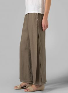 MISSY Clothing - Linen Double Layers Pants With Sea Shall Button