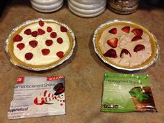 1 meal replacement shake pouch 1 cup plain yogurt 1-8 oz fat free kool whip Mix all together and pour into a low fat graham cracker crust. Top with your favorite fruit. Freeze a few hours and enjoy!