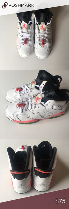 Nike Air Jordan Retro 6 white/ infrared Size 6Y Nike Air Jordan Retro 6 white/ infrared Worn, Minor scratch on the front toe of right shoe but in overall good condition. Size 6Y Air Jordan Shoes Sneakers