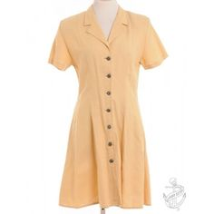 Vintage Clothing | Short Sleeved Dress Buttercup Yellow With A Revere Front