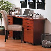 Home Office Desk - Add a work surface to the rolling carts and you've got yourself a stylish desk with lots of storage.