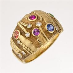 Alex Sepkus Sea Grass Dome Ring - Vibrant Rainbow Sapphires in 18k