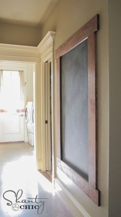 DIY: Framed Chalkboard Wall Tutorial - this shows how to construct the frame + how to prep & paint the wall with chalkboard paint. The painted wall concept would also work if you have an unused frame. Put this between 2 doors in the basement hallway Framed Chalkboard Walls, Diy Chalkboard, Chalkboard Wall Kitchen, Framed Wall, Chalkboard Drawings, Chalkboard Lettering, Shanty 2 Chic, Deco Originale, Decoration Originale