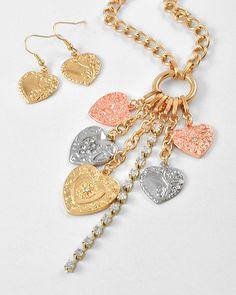 Tri-tone Metal / Clear Rhinestone / Lead Compliant / Heart Charm / Valentine's Day / Long Neck & Fish Hook Earring Set