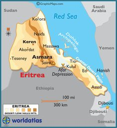 Eritrea large color map, Asmara my son Brian's birthplace Oct. 22, 1971