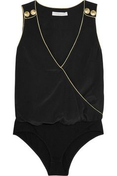 Pierre Balmain - Wrap-effect Washed-silk Bodysuit - Black - FR34
