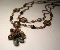 Handcrafted Double Strand Antique Copper Amber and Blue Picasso Czech Glass Cluster Necklace by TwinFlameDesigns, $32.74