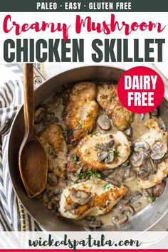 Dairy Free Creamy Mushroom Chicken Skillet - This recipe reminds me of chicken marsala but lighter and brighter. Just a few simple ingredients is all you need to make this creamy skillet dinner! Creamy Mushroom Chicken, Chicken Mushroom Recipes, Chicken Skillet Recipes, Chicken Meals, Cheap Paleo Meals, Easy Paleo Dinner Recipes, Healthy Meals, Chicken Recipes Dairy Free, Chicken Marsala