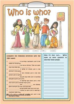 WHO IS WHO worksheet for present continuous - Free ESL printable worksheets made… English Lessons, Learn English, English Test, English Class, English Language, English Activities, Language Activities, Learning English For Kids, Teaching English