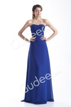 royal blue empire floor length strapless a-line chiffon evening dress from gudeer.com