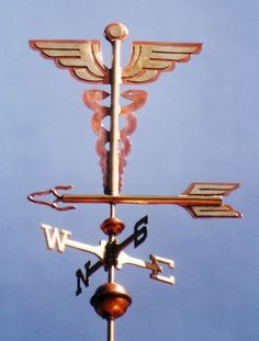 Caduceus - Medical Symbol Weather Vane by West Coast Weather Vanes.  This handcrafted Caduceus weathervane can be custom made using a variety of materials.