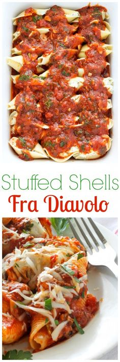 Stuffed Shells Fra  Diavolo - SO delicious, easy, and flavorful! A MUST pin and make recipe if you love Italian food.