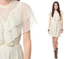 Image detail for -Party Dress 70s Mini Chiffon Lace Flutter Sleeve CUTWORK 1970s Grecian ...