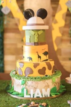 Go on an adventure with this Mickey Mouse Safari birthday party! The cake will blow you away! See more party ideas and share yours at CatchMyParty.com  #catchmyparty #partyideas #mickeymouse #safariparty #mickeymouseparty #boybirthdayparty
