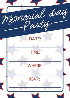 This Memorial Day Party Invitation is great for a last minute party...I can print this at home...and it's free! Such an easy holiday idea.